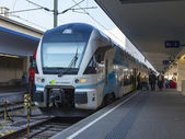 Vienna , Austria , March 26, 2014 . Train preparing to depart . — Stock Photo