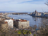 Budapest, Hungary. View of Danube and Pesht from Buda Castle — Photo