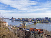 View of Danube and Pesht from Buda Castle — Stock Photo