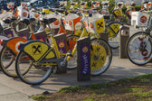 Vienna, Austria, on March 25, 2014. Bicycle parking on the city street — ストック写真