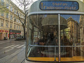 Vienna, Austria, on March 25, 2014. View of the city street from a window of the moving tram — Stok fotoğraf
