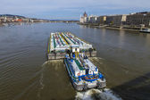 Budapest, Hungary, March 20, 2014 . River tanker sailing on the Danube — Stock Photo
