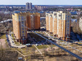 Pushkin, Moscow region , Russia. Fibre optic cable to connect to the Internet residential building and residential area in the background — Stock Photo