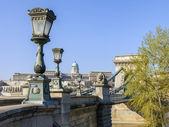 Budapest, Węgry. widok z Mostu Łańcuchowego na Dunaju — Zdjęcie stockowe