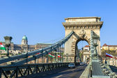 Budapest, Hungary . View of the Chain Bridge over the Danube — Stock Photo