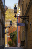 Budapest, Hungary. Typical urban look. Picturesque street in Buda. Buda - part of the city , situated on the high banks of the Danube — Stock Photo