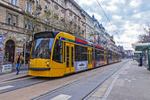 Budapest, Hungary, March 22, 2014 . Typical urban look. The city's tram stop is on — Stock Photo