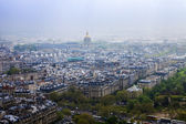 Paris, France, May 2, 2013 . City view from the Eiffel tower in cloudy weather — Stock Photo