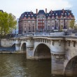 Paris, France. View of the embankment of the river Seine at sunset — Stock Photo #46292999