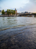 Paris, France. View of the embankment of the river Seine at sunset — Stock Photo