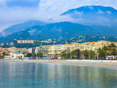 Menton , France . View to the sea and waterfront of Menton, French Riviera — Stock Photo