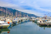 Menton , France , October 15, 2013 . View yachts moored in the city's port — Stock Photo