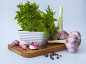 Fresh vegetables and greens for salads — Stockfoto
