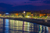 Nice, France, on July 6, 2011. English promenade (Promenade des Anglais) at night. Promenade des Anglais in Nice - one of the most beautiful and known embankments in Europe — Stock Photo