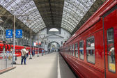 Moscow, Russia, on July 5, 2014. The aeroexpress train at the platform of the Kiev station expects departure in the Vnukovo airport — Stockfoto