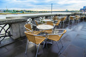 Summer cafe open-air in the European city after a rain — Стоковое фото