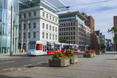 Dusseldorf, Germany, on July 6, 2014. The high-speed tram on the city street — Stockfoto