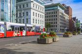 Dusseldorf, Germany, on July 6, 2014. The high-speed tram on the city street — Stok fotoğraf