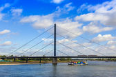 Dusseldorf, Germany, on July 6, 2014.  View of the river Rein, embankment and bridge — Stock Photo