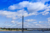 Dusseldorf, Germany, on July 6, 2014.  View of the river Rein, embankment and bridge — Foto Stock