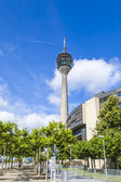 Dusseldorf, Germany, on July 6, 2014. View of the Rhine tower. The Rhine tower is one of Dusseldorf's recognizable sights — Foto Stock
