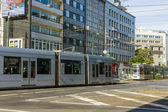 Dusseldorf, Germany, on July 6, 2014. The high-speed tram on the city street — Foto de Stock