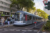 Dusseldorf, Germany, on July 6, 2014. The high-speed tram on the city street — Photo