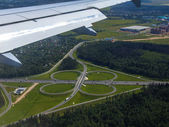 View of a road outcome from a plane window — Stock Photo