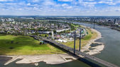 Dusseldorf, Germany, on July 6, 2014. View of Rhine Embankment from a survey platform on a television tower — Stock Photo