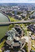 Dusseldorf, Germany, on July 6, 2014. View of Rhine Embankment from a survey platform on a television tower — Foto Stock