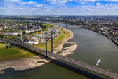 Dusseldorf, Germany, on July 6, 2014. View of Rhine Embankment from a survey platform on a television tower — Photo