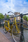 Amsterdam, Netherlands, on July 7, 2014. Bicycle on the bank of the channel. The bicycle is very popular type of transport in Holland — Photo