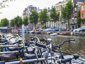 Amsterdam, Netherlands, on July 7, 2014. Bicycles on the bank of the channel. The bicycle is very popular type of transport in Holland — Photo