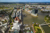 Dusseldorf, Germany, on July 6, 2014. View of Media harbor from a survey platform of a television tower - Reynturm — Stock Photo