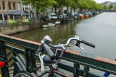 Amsterdam, Netherlands, on July 7, 2014. Bicycles on the bank of the channel. The bicycle is very popular type of transport in Holland — Stock Photo