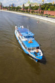 Moscow, Russia, on July 26, 2014. The walking ship floats down the river Moscow — Stock Photo