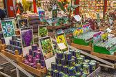 Amsterdam, nederländerna, den 8 juli 2014. försäljning av växter och frön i blomstermarknaden i amsterdam. blomman marknaden - en av kända sevärdheter — Stockfoto