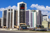 Moscow, Russia, on July 26, 2014. The building of modern architecture on the Garden ring — Stock Photo