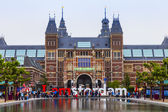 Amsterdam, Netherlands, on July 9, 2014. The square in front of the State museum and the letters I AMsterdam - one of known sights of the city — Stock Photo