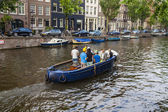 Amsterdam, Netherlands, on July 10, 2014. Walking boat are moving by channel — Foto Stock