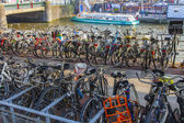 Amsterdam, Netherlands, on July 10, 2014. The bicycles parked in the city street — Stock Photo