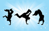 Three Breakdancers — Stock Vector