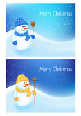 Background With a Snowman — Stock Vector