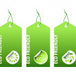 Three green bio labels — Stock Vector