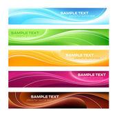 Pięć kolorowych banerów — Wektor stockowy