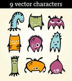 9 vector characters — Stock Vector