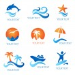Seand Beach Icons — Stock Vector #14874463