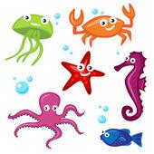 Cute Sea Creatures — Stock Vector