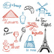 French Doodles vsechny - Stock Vector