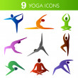 Nine yogicons — Stockvector #14896767